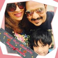 Akul balaji family photo: wife jyothi and son krishaan