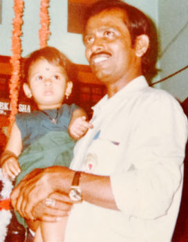Amulya with her father in childhood