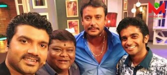 Bullet prakash with darshan and srujan Lokesh