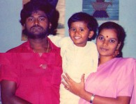 Jaggesh family: jaggesh and wife parimala with their first child