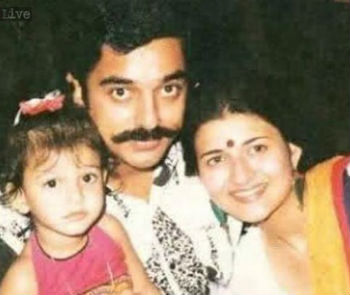 Shruti Haasan childhood photo with dad Kamal Haasan & Mom Sarika Thakur