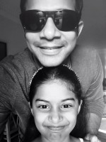 Karthik with his daughter