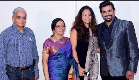 madhavan with his parents and wife celebrating birthday father ranganathan mother saroja and wife