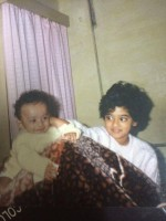 Nanditha raj childhood photo with younger brother prateek