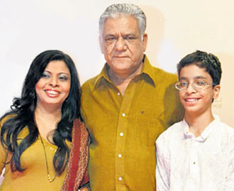 Om Puri with Wife & Son