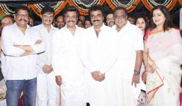 Rajinikanth, ambareesh, rockline venkatesh and ks ravikumar at lingaa movie pooja stills