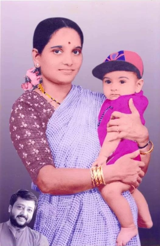 Ravi Belagere Childhood with Mother Parvathi