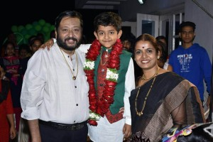 Ravi Belagere with Wife Yashomati & Son Himavanth