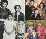 Rishi kapoor and his family. we can see girl riddhima and boy ranbir kapoor as child.