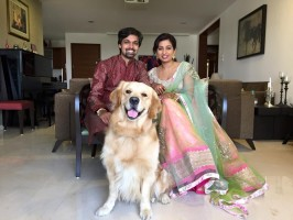 Shreya ghoshal with husband shiladitya mukhopadhyaya and pet sherlock