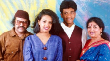 srujan lokesh family- Father Lokesh, Mother Girija, Sister Pooja