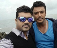 srujan lokesh with Darshan Thoogudeep