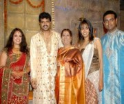 Srujan lokesh with wife greeshma and mother girija lokesh