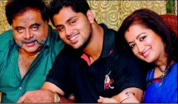 Sumalatha ambarish family: sumalatha and ambarish with son abhishek gowda