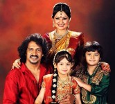 Upendra, his wife and children Ayush and Aishwarya