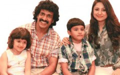 Upendra with wife priyanka and children ayush and aishwarya